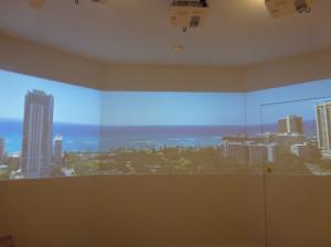 フロアからの眺望がシミュレーションできるスクリーン